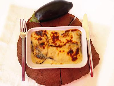 LASAGNA DE BERENJENAS Y BACALAO AL AJOARRIERO CON QUESO DE CABRA la cocinera novata receta cocina pescado bajo en calorias sano