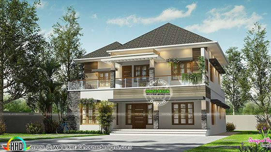 2520 sq-ft 4 bedroom modern sloping roof home