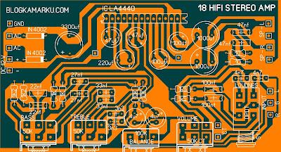 Rangkaian Power amplifire 18 watt Hifi Stereo