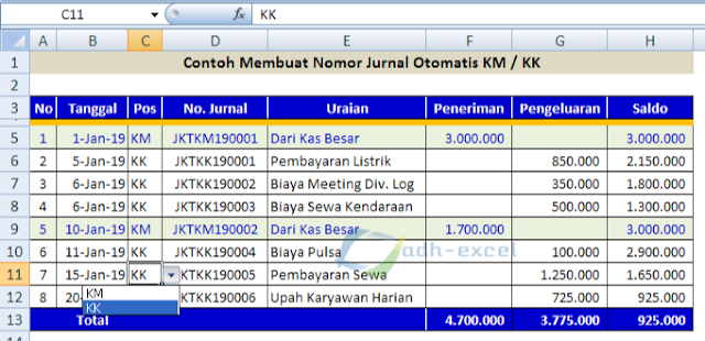atomatic number in petty cash with excel function