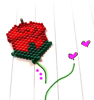 Peyote Stitch Rose Pattern