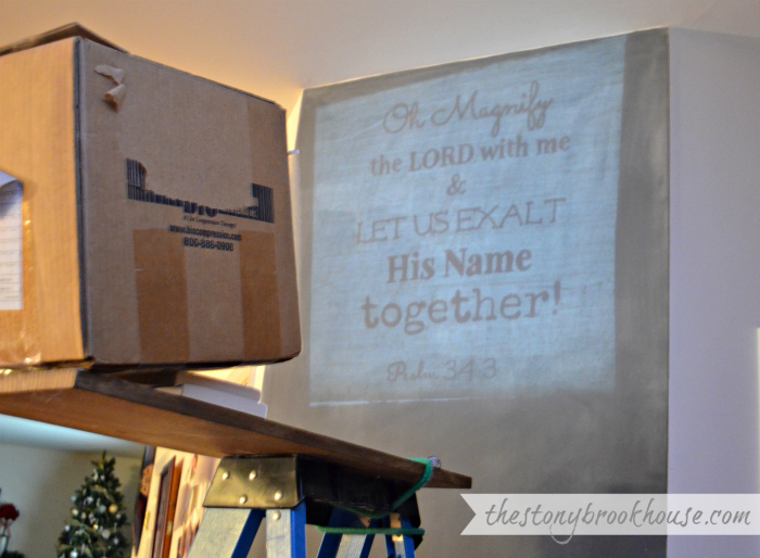 Projected scripture verse with DIY Overhead Projector