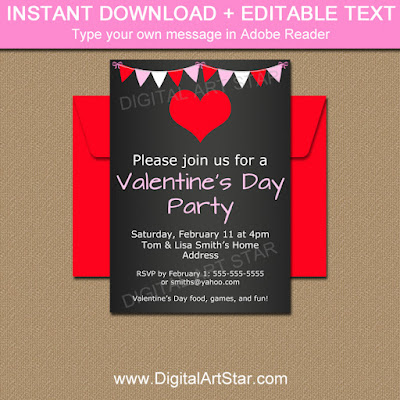 Valentine Chalkboard Invitation Download - Valentine's Day Party Decorations
