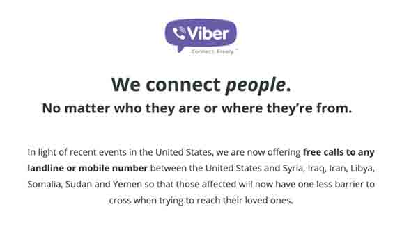 Viber website a statement reads
