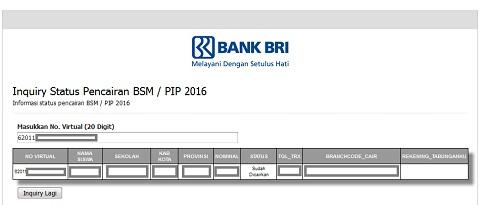 Cek Inquiry Status Pencairan BSM / PIP 2016 SD/SMP/SMA/SMK