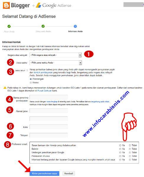 Cara Pengisian Form Pendaftaran Google Adsense