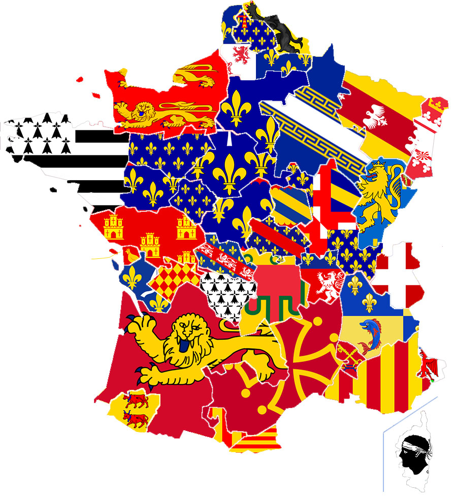 Present map of France filled with flags of historic areas