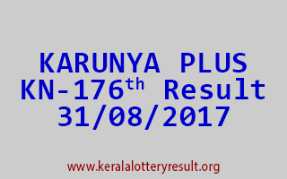 KARUNYA PLUS Lottery KN 176 Results 31-8-2017