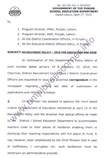 New educators policy Issued by School Education Department