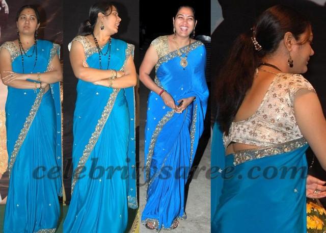 7647b6d9b9187d Hema Blue Crepe Saree - Saree Blouse Patterns