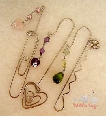 Wire wrapped bookmarks with pearl, rose quartz and heart amethyst