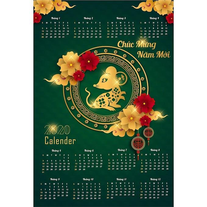 Chinese New Year, new year calendar 2020 calendar happy new year 2020 beautiful calendar design template