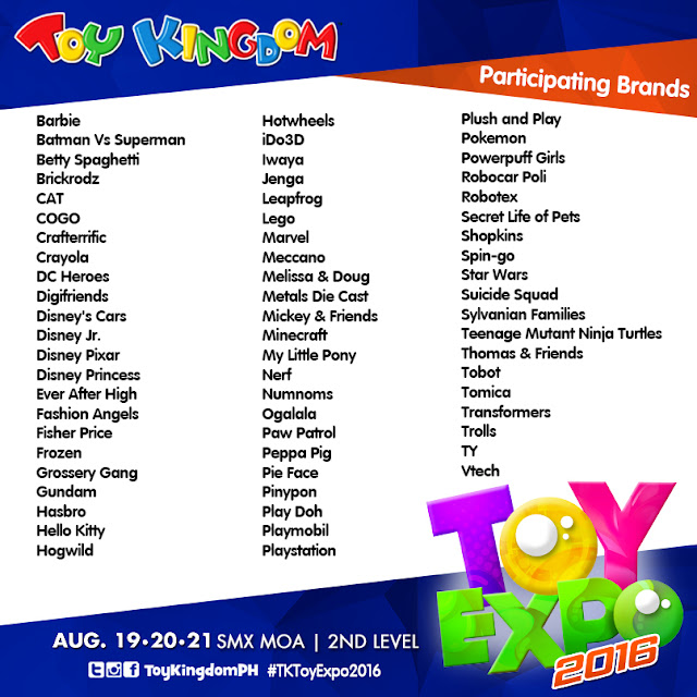 Toy Kingdom Toy Expo 2016 Participating Brands