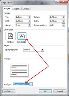 cara menciptakan satu halaman ms word landscape