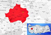 Pazarlar ilçesinin nerede olduğunu gösteren harita