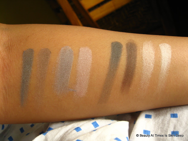 Oriflame Pure Colour Eyeshadow Palette Nudes & Grey swatch