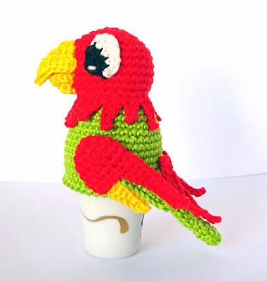 crochet parrot Easter Egg Cozy