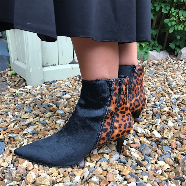 my midlife fashion, marks and spencer double zip kitten heel leopard print ankle boots