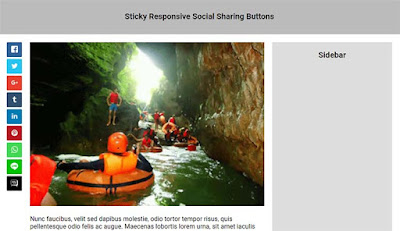 Sticky responsive social sharing Buttons  for Blogger
