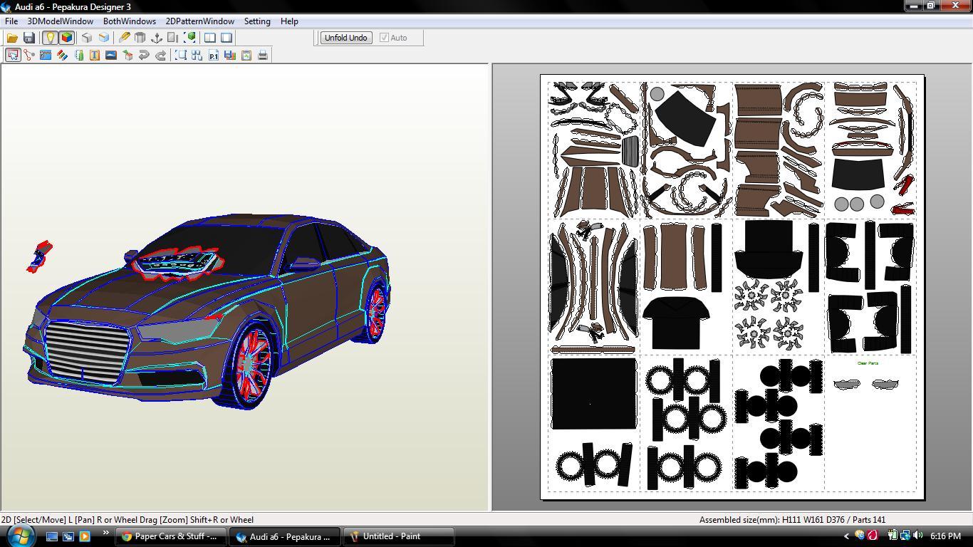 Audi A6 Papercraft Paper Super Cars