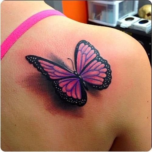 Cor-de-rosa Borboleta com Sombra Tatuagem