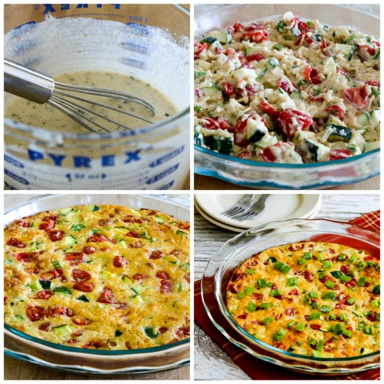 Cheesy Low-Carb Tomato Zucchini Pie found on KalynsKitchen.com