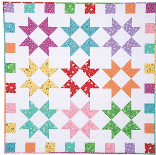 Color Burst Baby Quilt Pattern made in rainbow colors