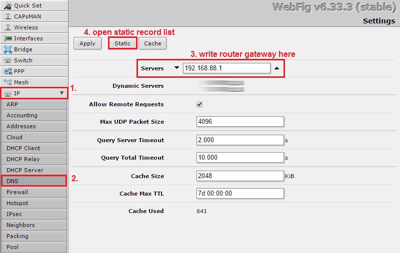 Create static DNS record, RouterOS 6