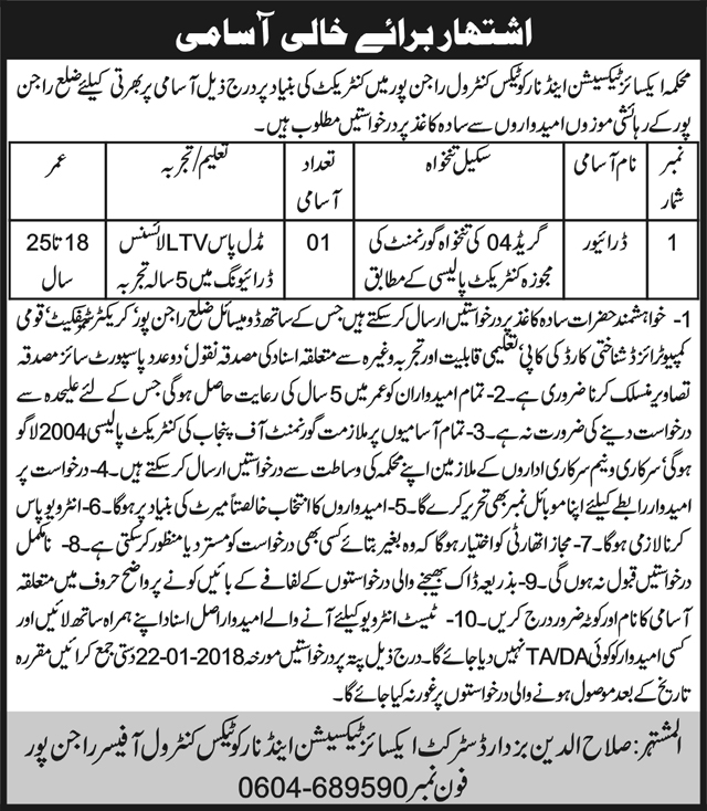 Jobs In Excise And Taxation Department Punjab 2018