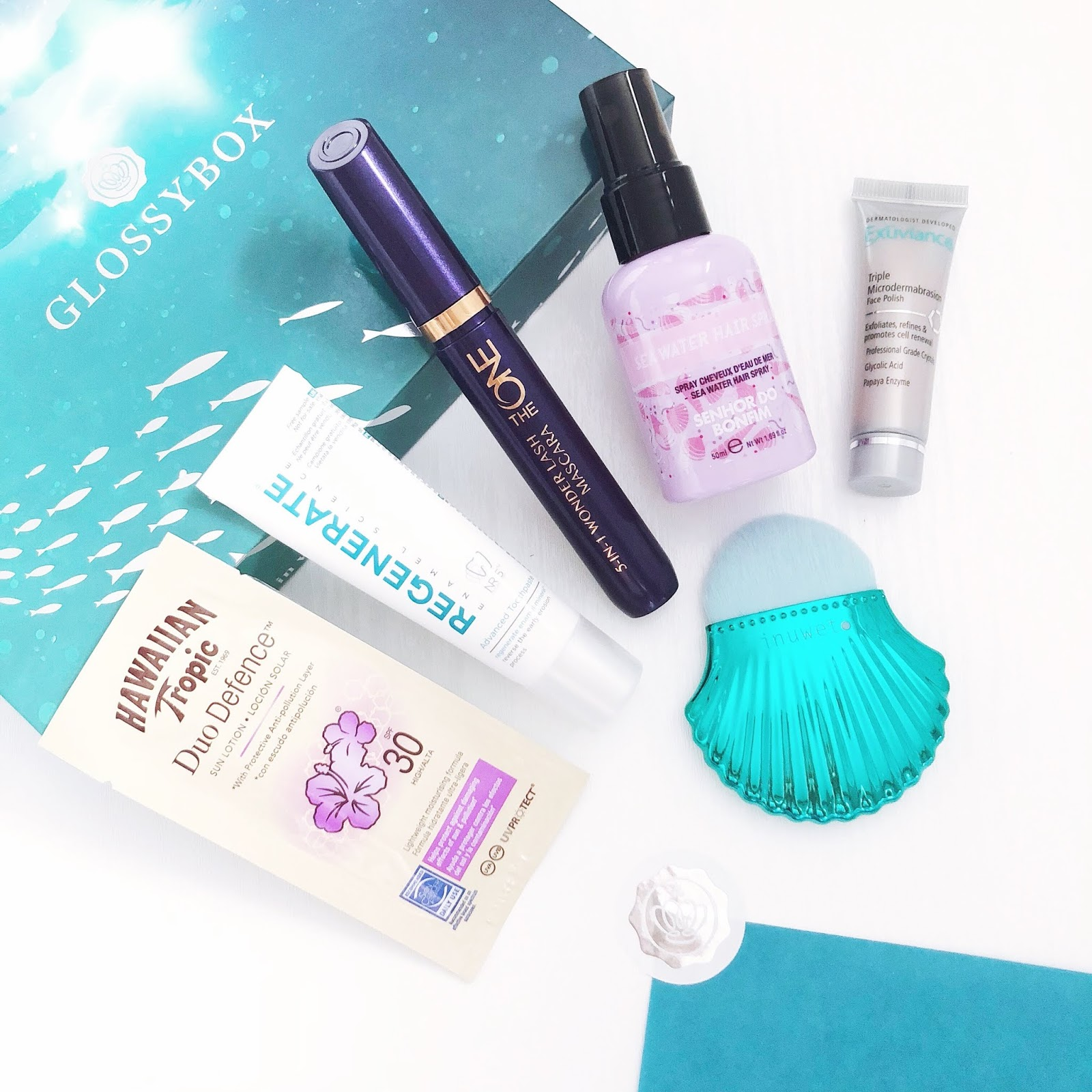 glossybox, hawaiin tropic, regenerate, oriflame, inuwet, exuvance