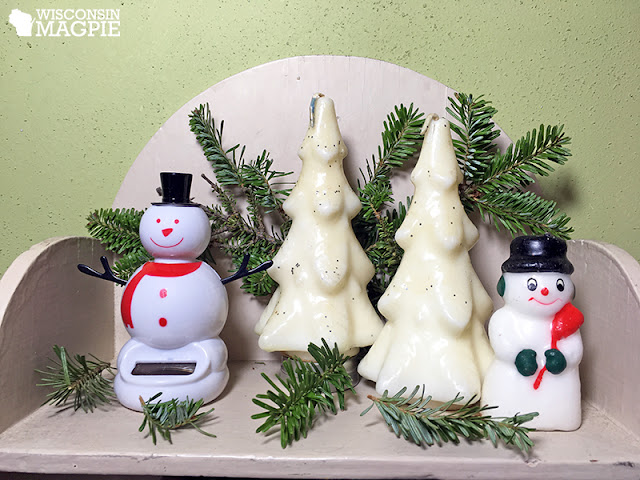 snowmen and candle Christmas trees