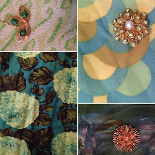 Four 1960s fabrics and three 1960s brooches, all green