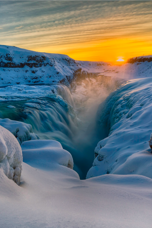 Gullfoss in Winter Sun, Iceland