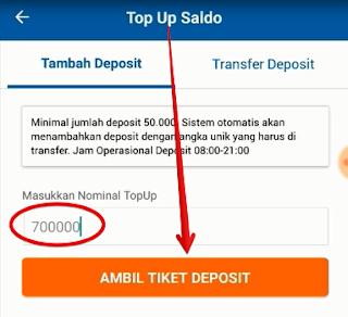 Masukkan nominal topup atau saldo yang akan dibeli sebagai contoh 700000 lalu klik tombol ambil tiket deposit