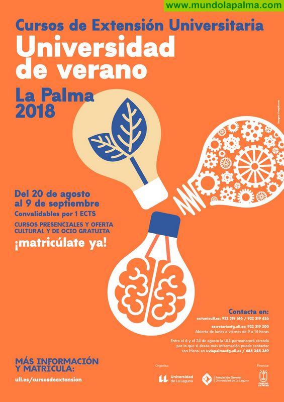 La Universidad de Verano de La Palma desarrolla seis cursos de temática variada a partir del próximo jueves