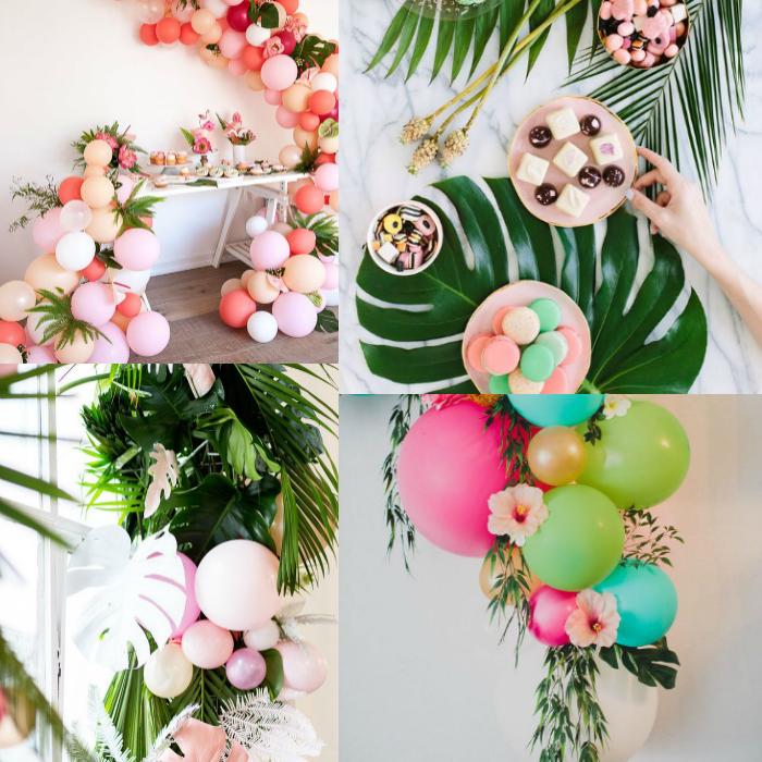 festa tropical, festa com flores, arco de balões, arco de balões desconstruído