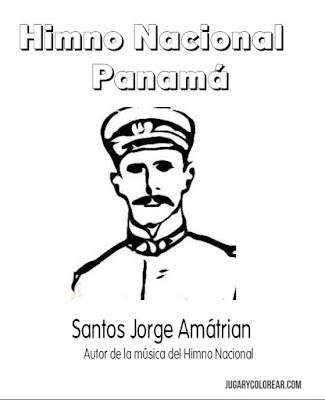 Colorear Don Santos Jorge himno nacional de Panamá