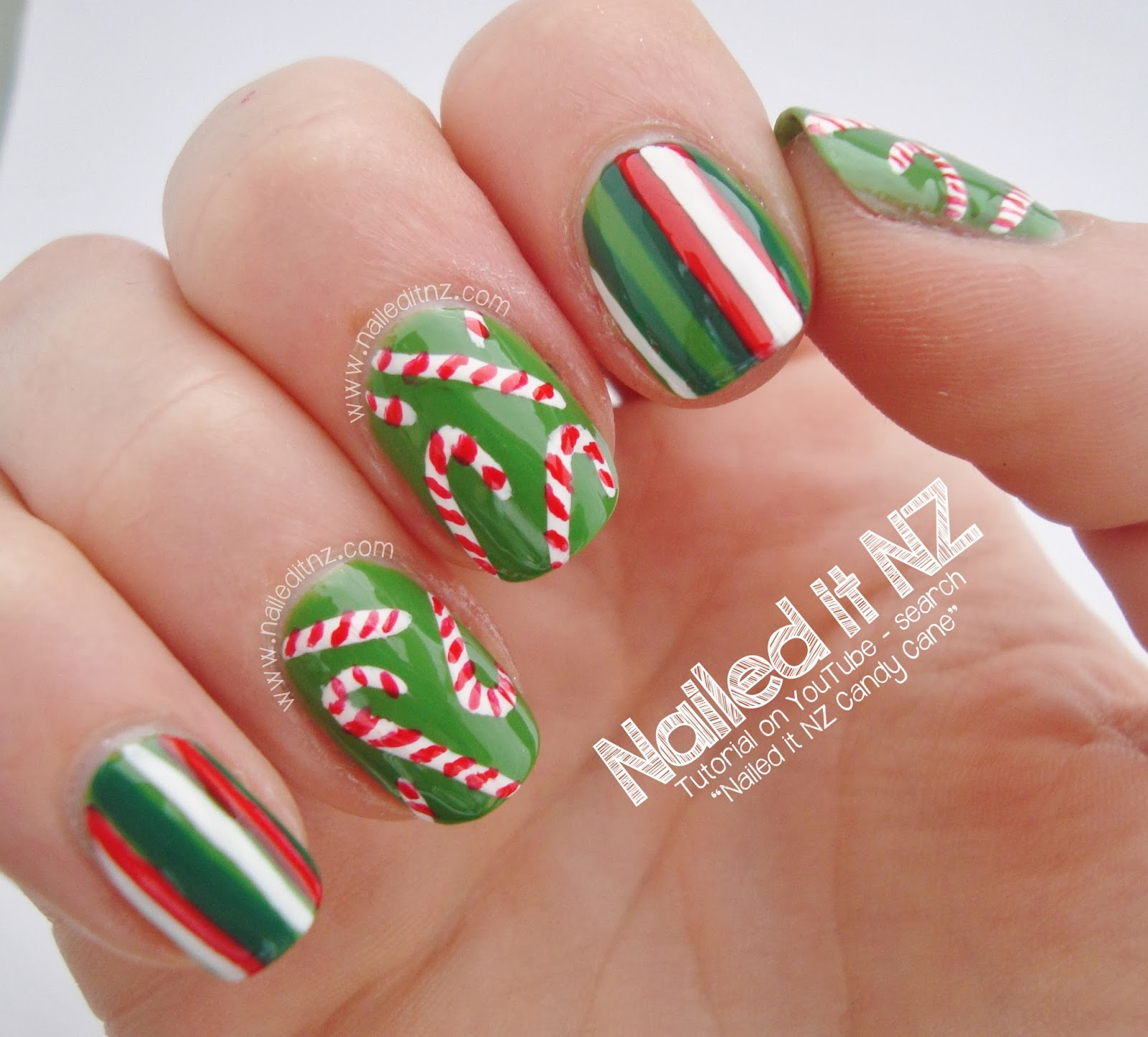 Christmas Nail Art Tutorial Gingerbread Galore: Christmas Candy Nail Art Tutorial