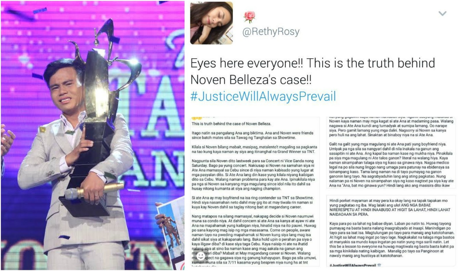Netizens reveals alleged truth behind Noven Belleza rape case