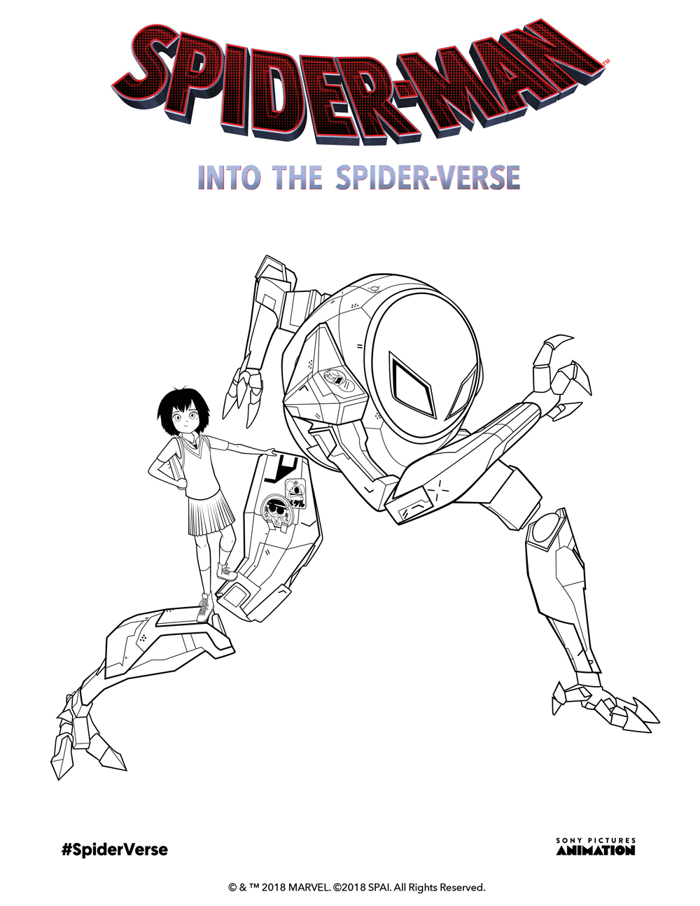 Coloring Pages and Activity Sheet for Spiderman Into the ...
