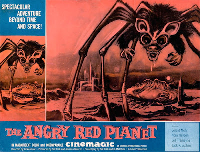 The rat-bat-spider-crab monster is featured prominently on the poster for The Angry Red Planet (1959)