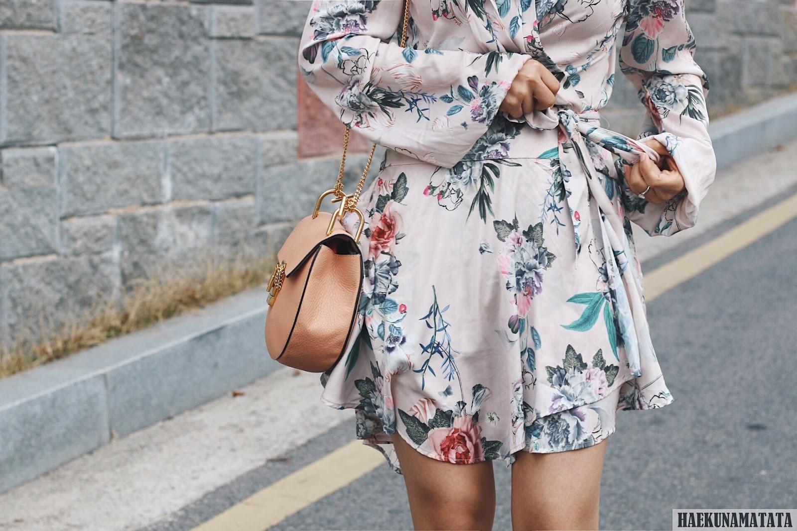 Spring Floral Wrap Dress - Revolve Majorelle Tropicana & Chloe Drew