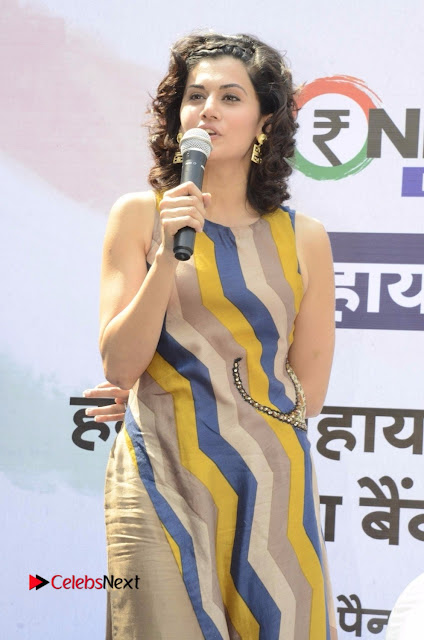 Actress Tapsee Panu Stills at Remonetise India Campaign in Chetna College Bandra West  0005.jpg
