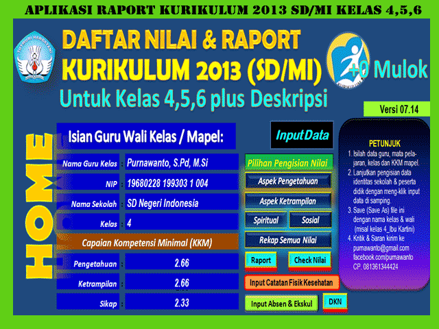 Download Aplikasi Raport SD/MI Kurikulum 2013 Plus Otomatis Deskripsi