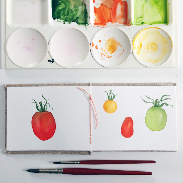 tomatoes, watercolor, watercolor tomatoes, sketchbook, watercolor sketchbook, hand bound book, Anne Butera, My Giant Strawberry