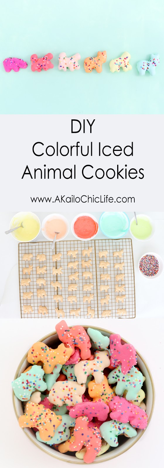 DIY Colorful Rainbow iced animal cookies - how to make your own colorful circus animal cookies for a birthday party or Christmas cookie exchange