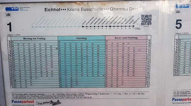 Ônibus 01, Lucerna, Suíça, tabela de horário