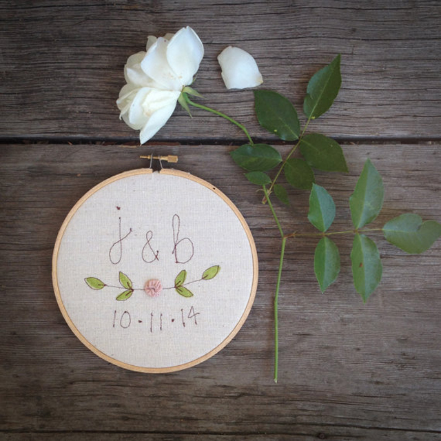 Keepsake Wedding Gift, Wedding Date Embroidery, Personalized Wedding Decor, Embroidered Hoop