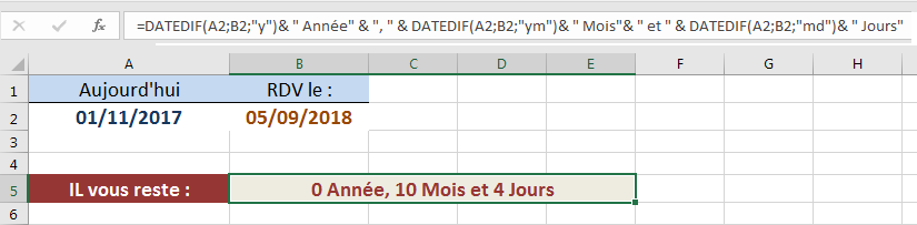 DATEDIF calcul de jours restants