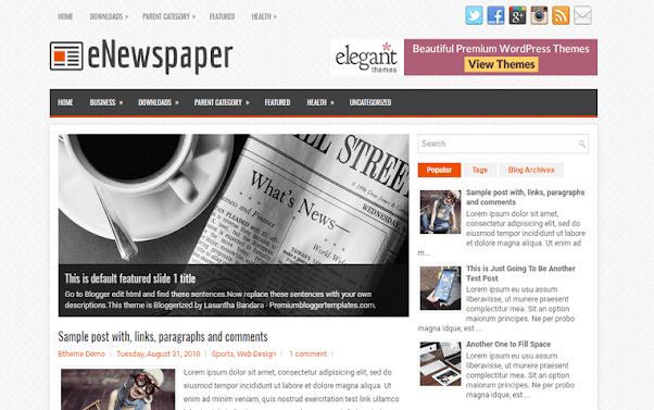 eNewspaper Free Blogger Template